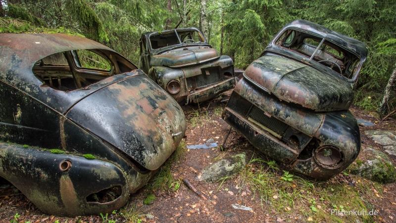 Kaputte Autos im Wald