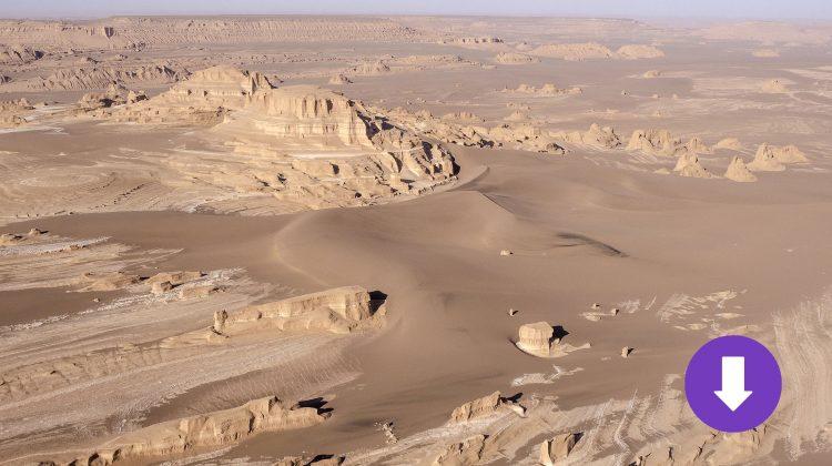 Yardangs in der Wüste Lut in Iran