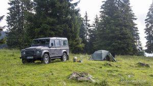 freies campen auf einer Bergwiese