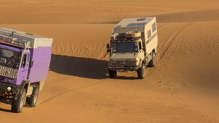 Unimog und Steyr im Sand