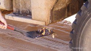 Feuer unter dem Tank hilft bei Minustemperaturen