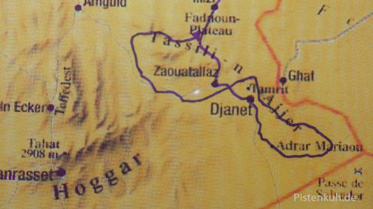 Kartenskizze Süd-Algerien