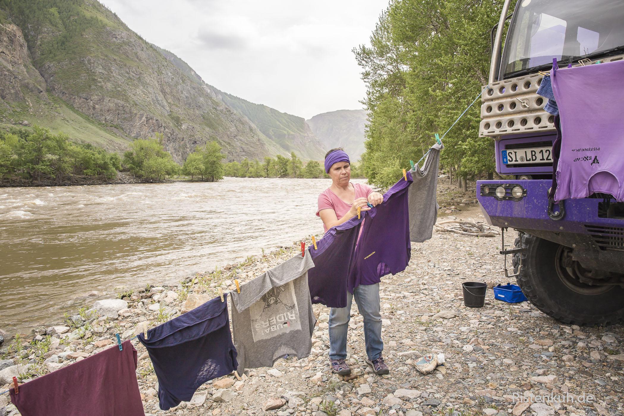 Der Abschluss eines Abenteuers: Wäsche waschen.