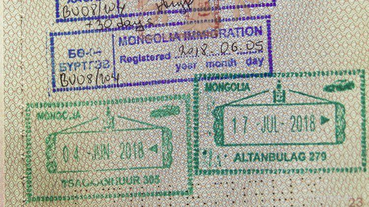 Einreisestempel im Passport mit Visum Mongolei