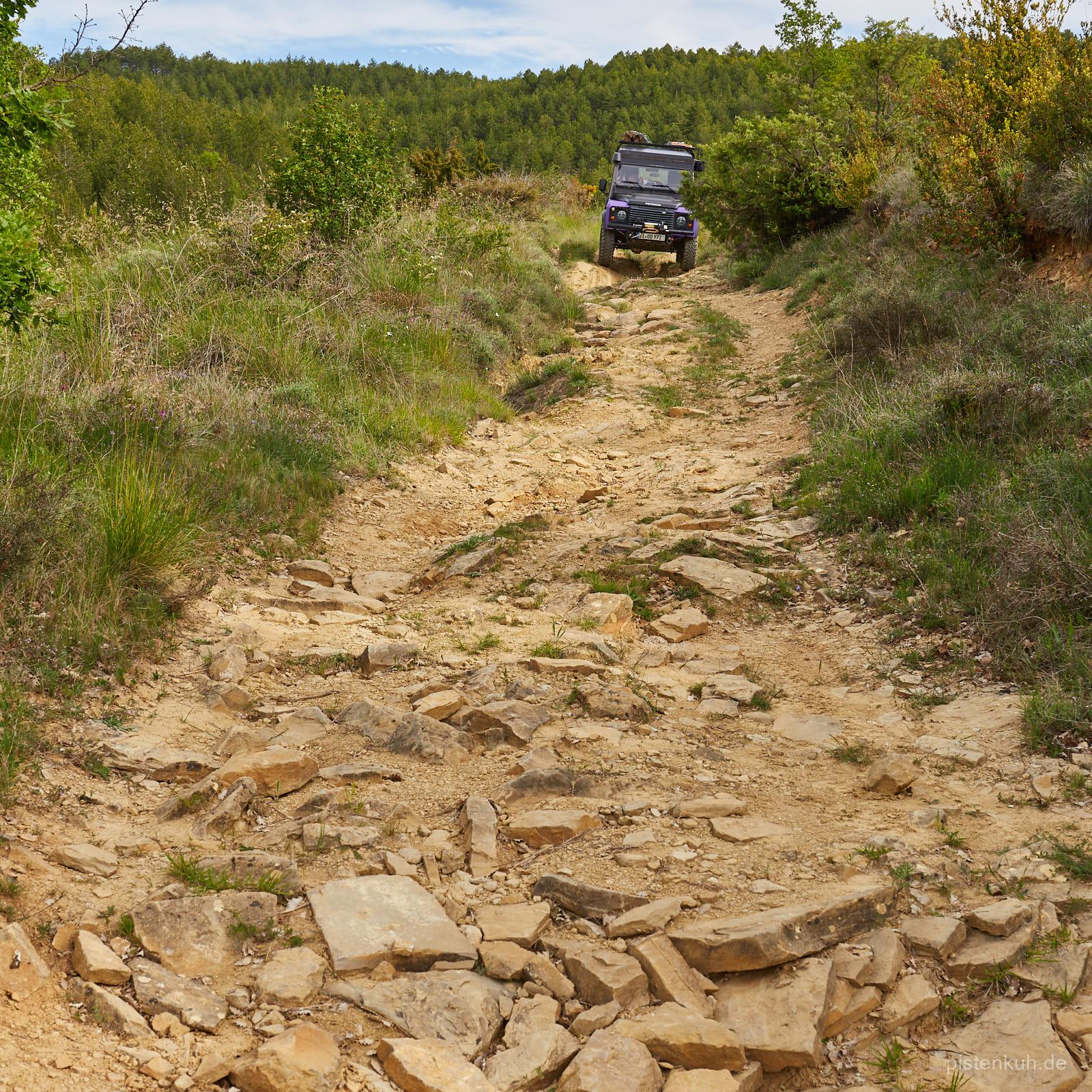 steinige Strecke für Land Rover