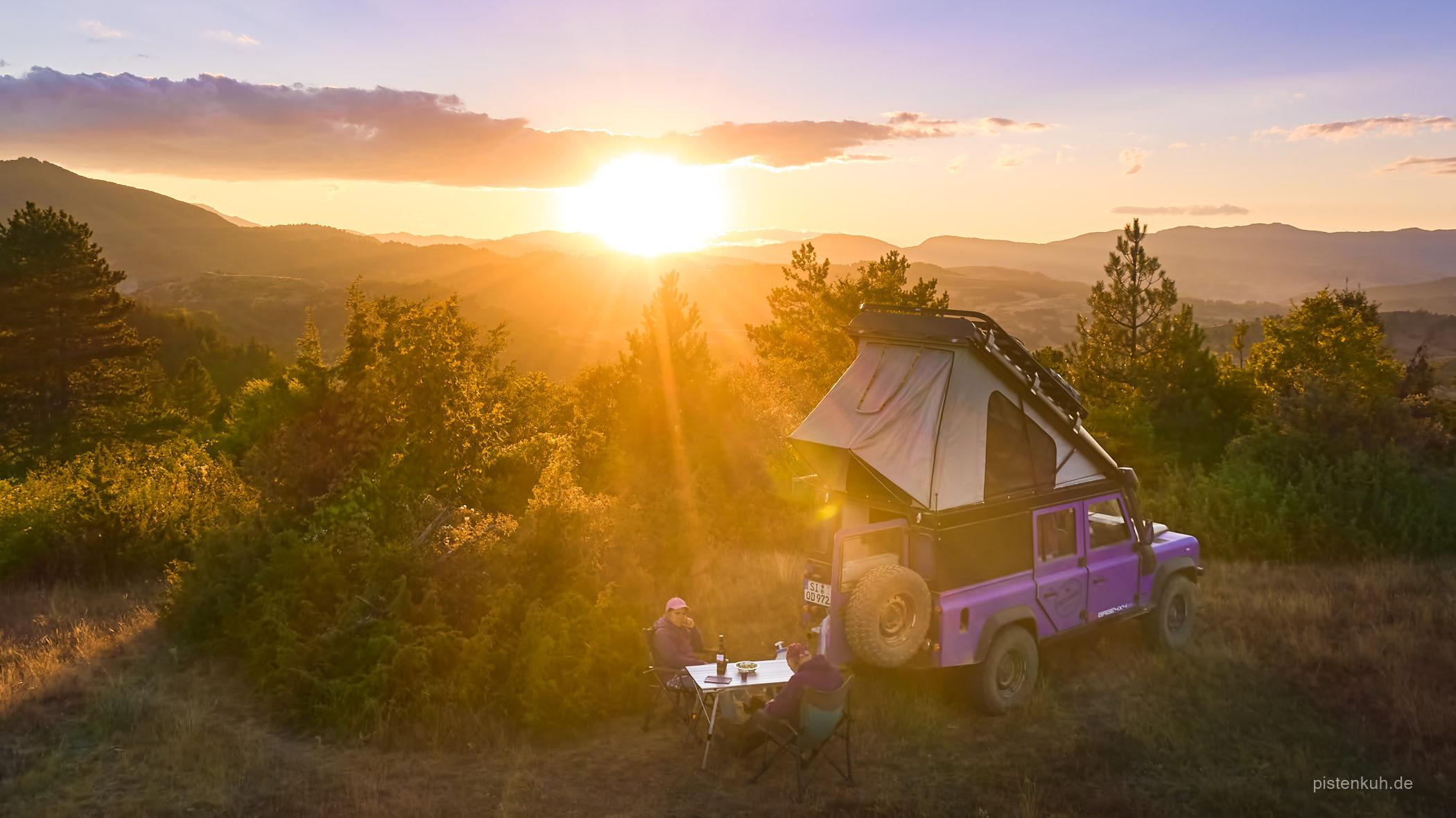 Sonnenuntergang beim Campen